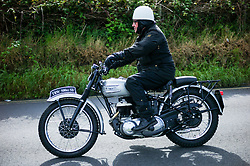 &copy; Licensed to London News Pictures. <br /> 10/09/2017 <br /> Saltburn by the Sea, UK.  <br /> <br /> An entrant rides his Triumph motorcycle during the annual Saltburn by the Sea Historic Gathering and Hill Climb event. Organised by Middlesbrough and District Motor Club the event brings together owners of a wide range of classic cars and motorcycles dating from the early 1900's to 1975. Participants take part in a hill climb to test their machines up a steep hill near the town. Once held as a competitive gathering a change in road regulations forced the hill climb to become a non-competitive event.<br /> <br /> Photo credit: Ian Forsyth/LNP