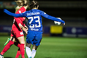 Chelsea Ladies Ramona Bachmann (23) during the UEFA Women's Champions League quarter final second leg match between Chelsea Ladies and Montpellier Feminines at the Kings Sports Ground, New Malden, United Kingdom on 28 March 2018. Picture by Robin Pope.