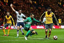 Lucas Perez of Arsenal takes the ball around Chris Maxwell of Preston North End - Mandatory by-line: Matt McNulty/JMP - 07/01/2017 - FOOTBALL - Deepdale - Preston, England - Preston North End v Arsenal - Emirates FA Cup third round