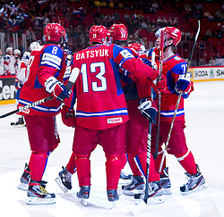 17.05.2012, Ericsson Globe, Stockholm, SWE, IIHF, Eishockey WM, Viertelfinale, Russland (RUS) vs Norwegen (NOR), im Bild Russia cheers 1-0 goal, Russia 13 Pavel Datsyuk (Detroit Red Wings), Russia 8 Alexander Ovetchkin // during the IIHF Icehockey World Championship Quarter Final Game between Russia (RUS) and Norway (NOR) at the Ericsson Globe, Stockholm, Sweden on 2012/05/17. EXPA Pictures © 2012, PhotoCredit: EXPA/ PicAgency Skycam/ Johan Andersson..***** ATTENTION - OUT OF SWE *****