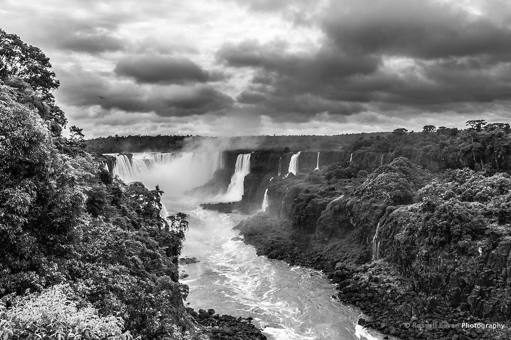Looking up the Iguazu river towards the Salto Union, Floriano and Santa Maria.