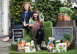 Repro Free: 14/10/2014  Eileen Bentley, Prepared Foods Manager at Bord Bia is pictured with winner of The Best Processed Product Award and the Innovation Award, SynerChi Kombucha, SynerChi Live Kombucha Original Sencha Tea, Brewmaster Laura Murphy from Gweedore, Co Donegal at the National Organic Awards held in Bord Bia's Dublin headquarters. Over 80 industry representatives gathered for the event which rewards quality and excellence within the Irish organic sector across categories including direct selling, innovation and export.  Picture Andres Poveda