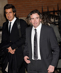 © London News Pictures. 22/11/2011. London, UK.  Comedian STEVE COOGAN (right) leaving The Royal Courts of Justice with DAVID SHERBORNE  QC (left) after giving evidence today (22/11/2011) at the Leveson Inquiry into press standards. The inquiry is being lead by Lord Justice Leveson and is looking into the culture, and practice of the UK press. The Leveson inquiry, which may take a year or more to complete, comes after The News of The World Newspaper was closed following a phone hacking scandal. Photo credit : Ben Cawthra/LNP