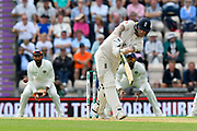 Ben Stokes of England hits the ball to the boundary for four runs during the first day of the 4th SpecSavers International Test Match 2018 match between England and India at the Ageas Bowl, Southampton, United Kingdom on 30 August 2018.