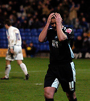 Photo: Jed Wee.<br />Tranmere Rovers v Swansea City. Coca Cola League 1.<br />26/11/2005.<br />Swansea's Lee Trundle rues a missed chance.
