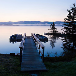 "The boat dock on First Connecticut Lake at ""The Glen"" in Pittsburg, new Hampshire.  Dawn."