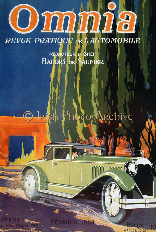 Front cover of 'Omnia',  French motoring magazine, February 1928, showing car speeding along a road in front of a row of cyprus trees.