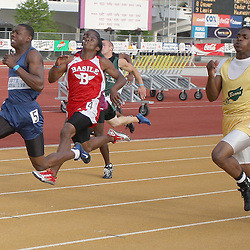 01 May 2008: Bradley Sylve (5) of the South Plaquemines Hurricanes brings home a state title with a first place finish in the 100-meter dash with a time of 10.60 seconds, later in the day Sylve brought home a second state title with a 21.85-second first place finish in the 200-meter dash at the 1A, 2A Louisiana State High School track and field finals at LSU's Bernie Moore stadium in Baton Rouge, LA.