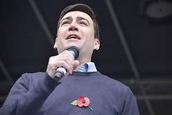 November 12, 2016 - Manchester, England, United Kingdom - Andy Burnham, Member of Parliament for Leigh and Greater Manchester Mayoral Candidate for the Labour Party, speaks at a protest rally against hydraulic fracturing, also known as 'fracking', on November 12, 2016 in Manchester, England. Hydraulic Fracturing is expected to take place in various locations around England, whilst the Northern Irish, Scottish and Welsh Governments has introduced moratoriums on the gas extraction method. Although fracking is a controversial form of energy extraction, due to environmental concerns, fracking is supposed to provide cheaper and more secure energy for the United Kingdom's domestic energy market. (Credit Image: © Jonathan Nicholson/NurPhoto via ZUMA Press)