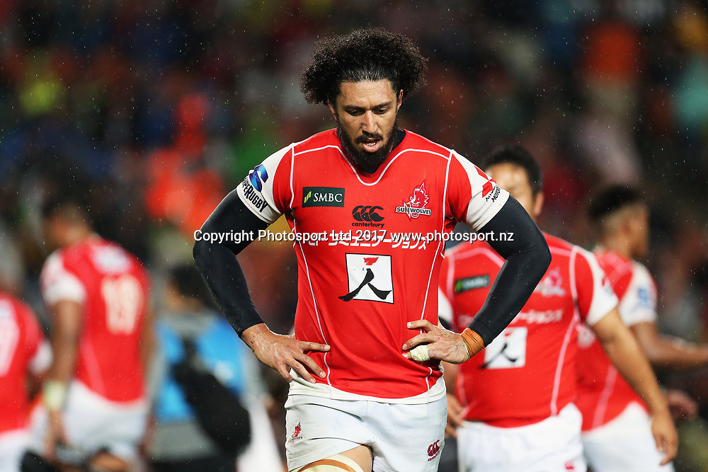 Sunwolves lock Sam Wykes dejected during the Super Rugby rugby match - Chiefs v Sunwolves played at FMG Stadium Waikato, Hamilton, New Zealand on Saturday 29 April 2017.  Copyright photo: Bruce Lim / www.photosport.nz