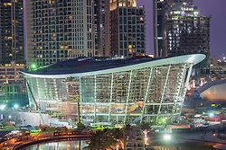 Construction site at night of new Opera House in Downtown Dubai United Arab Emirates