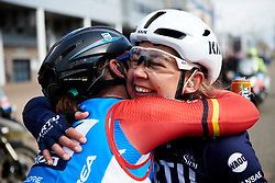 The breakaway companions, Anouska Koster (NED) and Lisa Brennauer (GER) share a hug at Healthy Ageing Tour 2019 - Stage 4B, a 74.6km road race from Wolvega to Heerenveen, Netherlands on April 13, 2019. Photo by Sean Robinson/velofocus.com