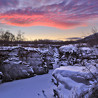"""Abisko Canyon 1:58 PM during the last hour of """"daylight"""" (which is really more like twilight) before it gets dark."""