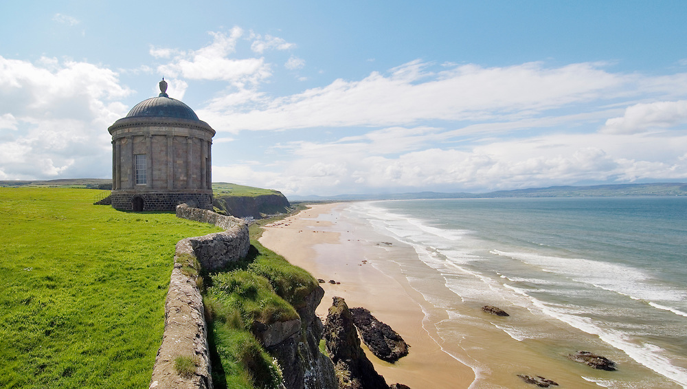The Mussenden Temple, part of the Downhill Castle Demesne, above Magilligan Strand at Benone, County Derry, Northern Ireland.