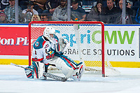 KELOWNA, CANADA - FEBRUARY 17:  James Porter #1 of the Kelowna Rockets makes a shoot out save against the Edmonton Oil Kings on February 17, 2018 at Prospera Place in Kelowna, British Columbia, Canada.  (Photo by Marissa Baecker/Shoot the Breeze)  *** Local Caption ***