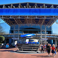 Test Track in Future World East at Epcot in Orlando, Florida<br /> This building was called World of Motion and sponsored by General Motors when it opened at Future World East in 1982. It closed in 1996 and reopened in 1999 as Test Track. After an extensive refurbishment in 2012, it reopened again under the sponsorship of Chevrolet.  The attraction allows visitors to design a car and then ride a SIM Car around an outside, one-mile Test Track. Your vehicle accelerates up to 65 miles per hour!