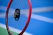 Tenniscoputer to set optimum racquet stringing while training session two days before the BNP Paribas Davis Cup 2014 between Poland and Croatia at Torwar Hall in Warsaw on April 2, 2014.<br /> <br /> Poland, Warsaw, April 2, 2014<br /> <br /> Picture also available in RAW (NEF) or TIFF format on special request.<br /> <br /> For editorial use only. Any commercial or promotional use requires permission.<br /> <br /> Mandatory credit:<br /> Photo by © Adam Nurkiewicz / Mediasport
