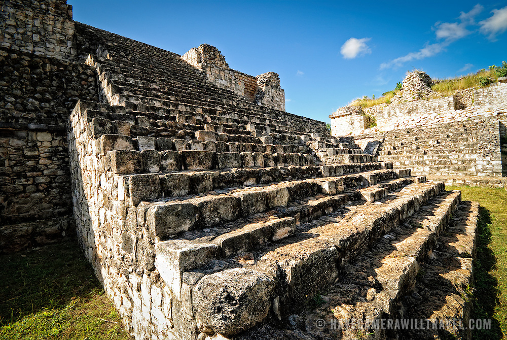 Stone steps to the Oval Palace at the ancient Mayan ruins at Ek' Balam, near Valladolid, Yucatan, Mexico