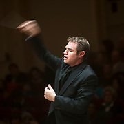 "November 25, 2012 - New York, NY : Music director Joshua Gersen leads the New York Youth Symphony in a rendition of Antonín Leopold Dvo?ák's 'Symphony No. 9 in E minor, Op. 95, B. 178, 'From the New World' (1893)"" as it kicks off its 50th season, in Carnegie Hall's Isaac Stern Auditorium on Sunday afternoon. CREDIT: Karsten Moran for The New York Times"