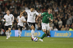 12.10.2012, Aviva Stadium, Dublin, IRL, FIFA WM Qualifikation, Irland vs Deutschland, im Bild v.l. Sami Khedira (Deutschland/Real Madrid), James McCarthy (Irland). Aktion // during FIFA World Cup Qualifier Match between Ireland and Germany at the Aviva Stadium, Dublin, Ireland on 2012/10/12. EXPA Pictures © 2012, PhotoCredit: EXPA/ Eibner/ Oliver Vogler..***** ATTENTION - OUT OF GER *****