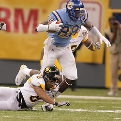 2008 November, 29: Southern University wide receiver Juamorris Stewart (88) is tripped up by Grambling State cornerback Nigel Copeland (8) during a 29-14 win by Grambling State over Southern University during the 35th annual State Farm Bayou Classic at the Louisiana Superdome in New Orleans, LA.  .