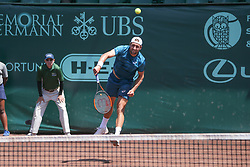 April 11, 2018 - Houston, TX, U.S. - HOUSTON, TX - APRIL 11: Tennys Sandgren (USA) serves during the second round of the US Men's Clay Court Championship on April 11, 2018 at River Oaks Country Club in Houston, Texas. (Photo by George Walker/Icon Sportswire) (Credit Image: © George Walker/Icon SMI via ZUMA Press)