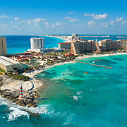 Aerial view of the hotel zone at Punta Cancun.<br />