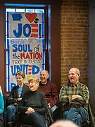 30 JANUARY 2020 - NEWTON, IOWA: People laugh at a joke by Vice President Joe Biden during a campaign event in Newton. About 150 people came to Newton, about 30 miles east of Des Moines, to listen to Vice President Biden talk about his reasons for running for President. Biden used the event to outline the differences between himself and President Trump, while President Trump was in Des Moines Thursday campaigning against Democrats, especially Vice President Biden. Iowa hosts the first event of the presidential election cycle. The Iowa Caucuses are Feb. 3, 2020.           PHOTO BY JACK KURTZ