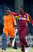 28.02.2011 Cricket World Cup from the Feroz Shah Kotla stadium in Delhi. West indies v Netherlands. Kemar Roach of West Indies celebrates the wicket of Bas Zuiderent during the match of the ICC Cricket World Cup between Netherlands and West Indies on the 28th February 2011