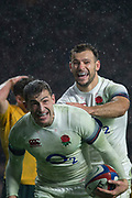 Twickenham, Surrey. UK. Danny CARE, congratulates Jonny MAY on his try, during the <br /> England VS Australia, Autumn International. Old Mutual Wealth Series. RFU Stadium, Twickenham. UK<br /> <br /> Saturday  18.11.17<br /> <br /> [Mandatory Credit Peter SPURRIER/Intersport Images]