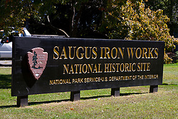Saugus Iron Works National Historic Site sign, Saugus, Massachusetts, United States of America