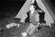Symond outside tent, UK, 1980's