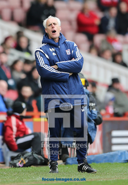 Ipswich Town manager Mick McCarthy during the Sky Bet Championship match at the Riverside Stadium, Middlesbrough<br /> Picture by Simon Moore/Focus Images Ltd 07807 671782<br /> 14/03/2015