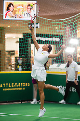 EDITORIAL USE ONLY<br /> Jessica Wright from The Only Way is Essex plays tennis against Made in Chelsea's Jamie Laing to celebrate the release of new tennis movie &Ocirc;Battle of the Sexes&Otilde;, in partnership with cereal bar Nature Valley, at Westfield London in Shepherd&Otilde;s Bush.