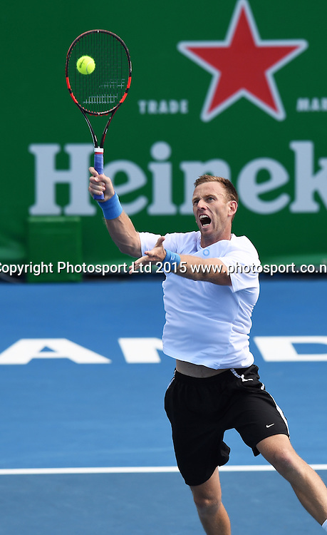 New Zealand's Michael Venus during his singles match on Day 3 at the Heineken Open. Festival of Tennis, ATP World Tour. ASB Tennis Centre, Auckland, New Zealand. Wednesday 14 January 2015. Copyright photo: Andrew Cornaga/www.photosport.co.nz