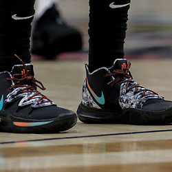 Nov 26, 2018; New Orleans, LA, USA; Shoes worn by Boston Celtics guard Kyrie Irving against the New Orleans Pelicans during the first quarter at the Smoothie King Center. Mandatory Credit: Derick E. Hingle-USA TODAY Sports