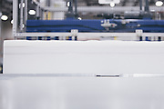 BELMONT, MS – MARCH 3, 2016: Foam sheets are prepared for assembly during production of the new Cocoon mattress line by Tempur Sealy. <br /> <br /> As the ecommerce revolution extends to larger household items, mattress giant Tempur Sealy has developed a mattress in a box solution to appeal to online shoppers. CREDIT: Bob Miller for The Wall Street Journal<br /> MATTRESS