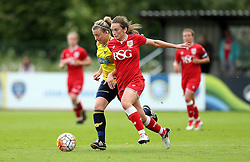 Chloe Arthur of Bristol City Women runs past Katharine Nutman of Oxford United - Mandatory by-line: Robbie Stephenson/JMP - 25/06/2016 - FOOTBALL - Stoke Gifford Stadium - Bristol, England - Bristol City Women v Oxford United Women - FA Women's Super League 2