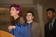 Traci Nichols, the mother of Ava Nichols, speaks on stage at the 8th Annual Ava Nichols Faculty Pageant on Feb. 27, 2017.
