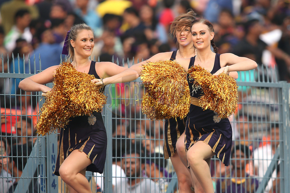 Kolkata Knight Riders Cheerleaders perform during match 55 of the Vivo Indian Premier League (IPL) 2016 between the Kolkata Knight Riders and the Sunrisers Hyderabad held at the Eden Gardens Stadium in Kolkata on the 22nd May 2016<br /> <br /> Photo by Shaun Roy / IPL/ SPORTZPICS
