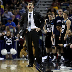 Mar 26, 2011; New Orleans, LA; Butler Bulldogs head coach Brad Stevens against the Florida Gators during the first half of the semifinals of the southeast regional of the 2011 NCAA men's basketball tournament at New Orleans Arena.   Mandatory Credit: Derick E. Hingle