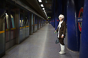 UNITED KINGDOM, London: 23 October 2015. <br /> Comic Con Feature.<br /> A young cos play fan waits for the London Underground as she makes her way to the convention.<br /> Photo: Rick Findler / Story Picture Agency