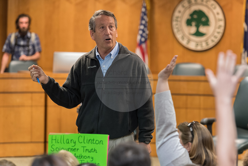 U.S. Rep. Mark Sanford answers a question from a constituent at a town hall meeting February 18, 2017 in Mount Pleasant, South Carolina. Hundreds of concerned residents turned up for the meeting to address their opposition to President Donald Trump during a vocal meeting held by U.S. Rep. Mark Sanford and Senator Tim Scott.