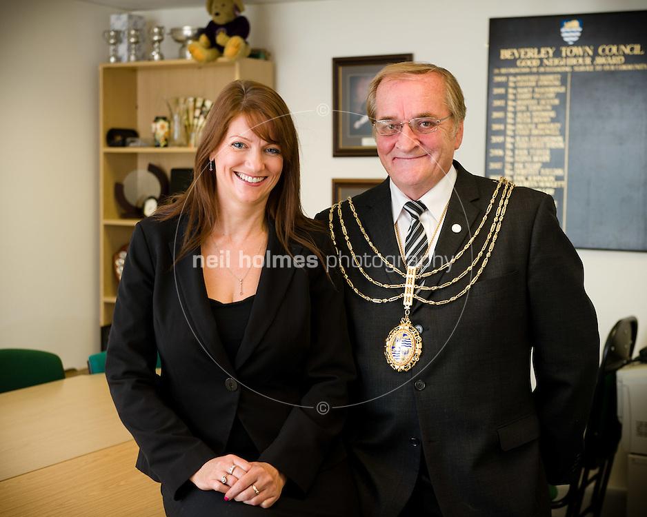 Coun Peter Astell, mayor of Beverley and Town Clark Helen Watson of Beverley Town Council