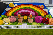 The National Chrysanthemum Society stand in the Grand Pavillion - Press preview day at The RHS Chelsea Flower Show.