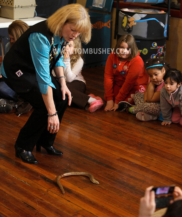 "Middletown, New York - Jan Berlin, director of Everything Animals Resource Center, shows a legless lizard to children at the Interactive Museum during her program ""Live Animals from Around the World"" on Feb. 7, 2010."
