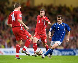 CARDIFF, WALES - Friday, September 5, 2008: Wales' Jason Koumas and Azerbaijan's Elmar Bakhsiyev during the opening 2010 FIFA World Cup South Africa Qualifying Group 4 match at the Millennium Stadium. (Photo by David Rawcliffe/Propaganda)