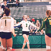 3rd year middle blocker, Emma Matheson (2) of the Regina Cougars during the Women's Volleyball home game on Fri Jan 18 at Centre for Kinesiology, Health & Sport. Credit: Arthur Ward/Arthur Images