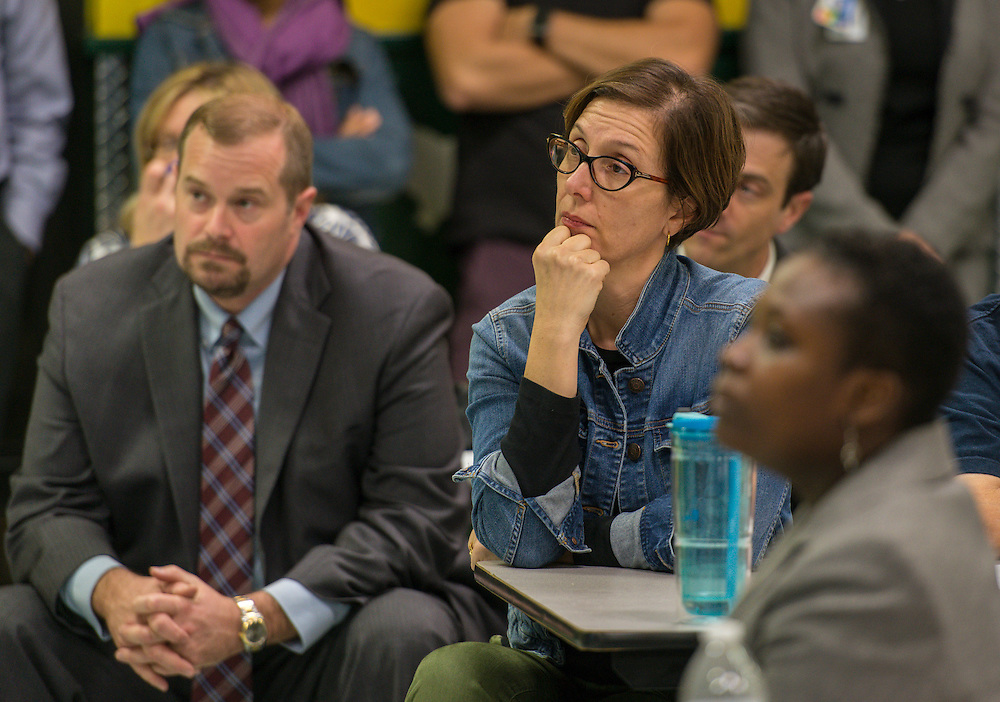 Houston ISD Trustee Anna Eastman listens to comments during a Bond community meeting at Garden Oaks Elementary School, February 2, 2016.