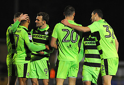 Farrend Rawson of Forest Green Rovers celebrates his goal after making it 2-1- Mandatory by-line: Nizaam Jones/JMP - 13/02/2018 - FOOTBALL - New Lawn Stadium - Nailsworth, England - Forest Green Rovers v Stevenage - Sky Bet League Two